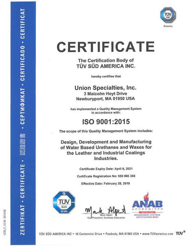 ISO Certification – Union Specialties Inc.